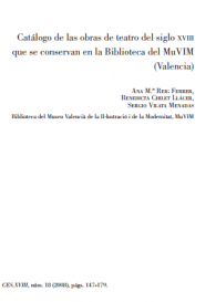 Catálogo de las obras de teatro del siglo XVIII que se conservan en la Biblioteca del MuVIM